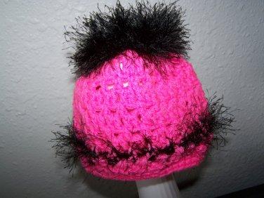Girls Ponytail Hat - Messy Bun - Hot Pink and Black