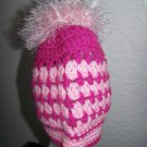 Child Ponytail Hat - Messy Bun - Pink & Pink