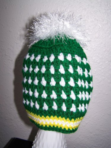 Girls Ponytail Hat - Messy Bun - Green - Yellow and White