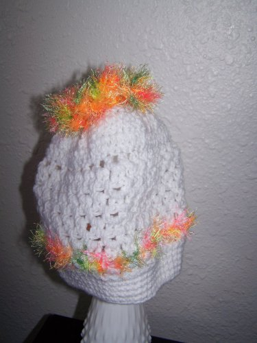 Girls Ponytail Hat - Messy Bun -  White with Neon