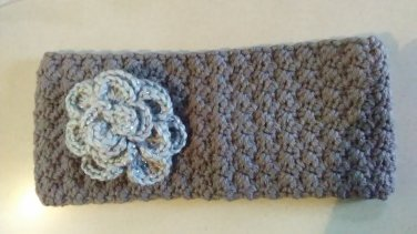 Headband Ear Warmer - Grey with Sparkle Flower