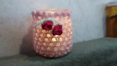 Crochet Pink Jar Cover for Tea Light Candle