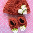 Newborn/Infant - Hat and Shoes - Hand Crocheted
