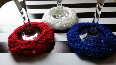 Red White Blue Sparkle - Wine Glass Coaster Cozies ~ Set of 3
