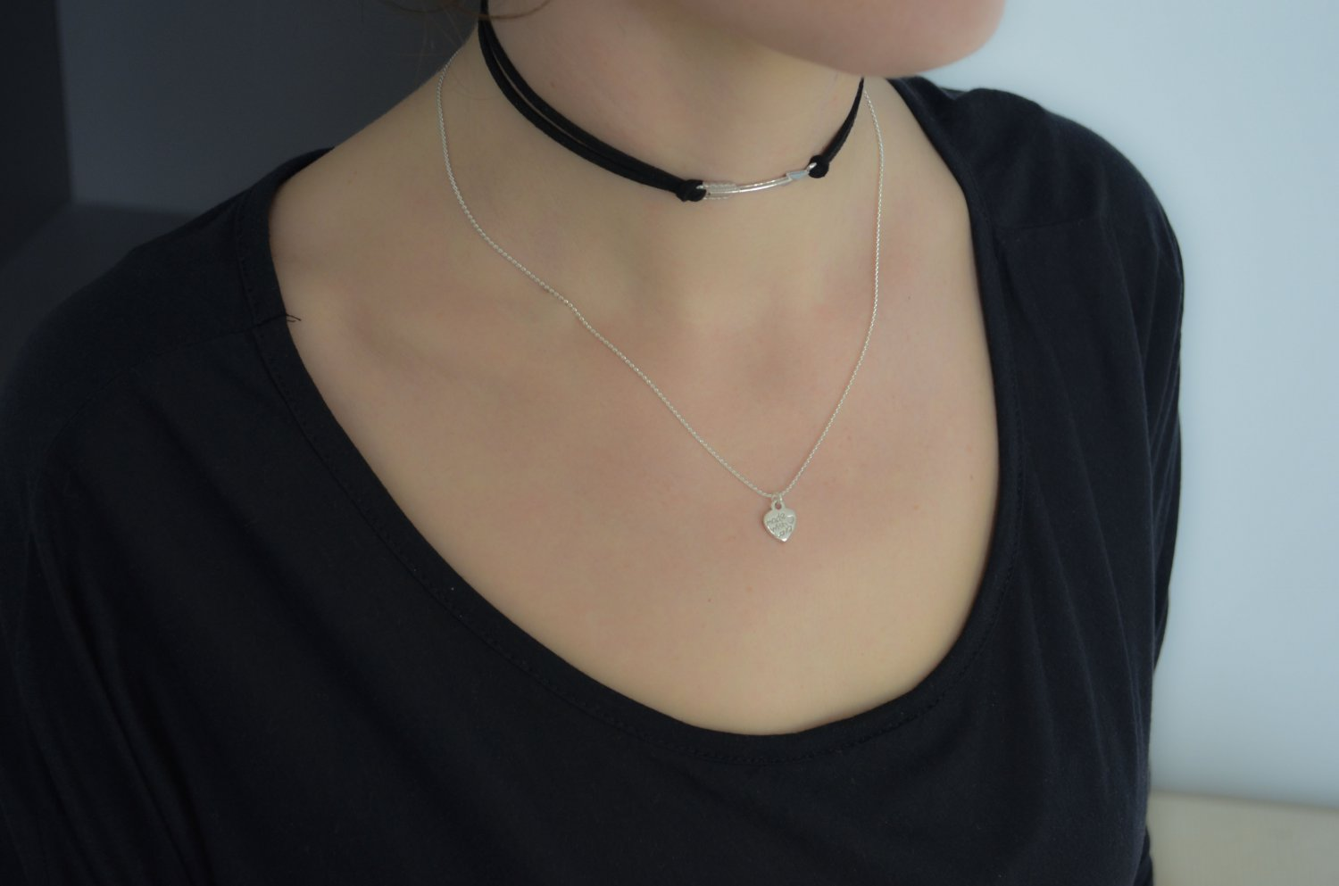 Black Suede Choker with Tibetan Silver Arrow Pendant