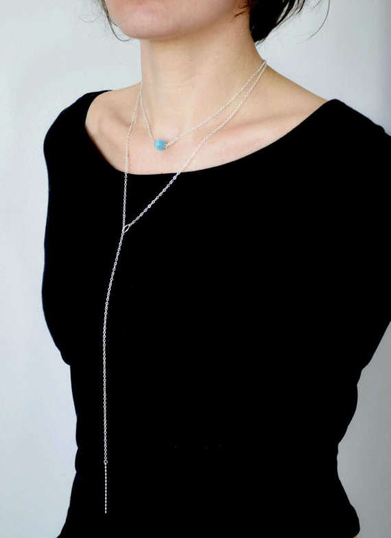 Blue cat eye bead necklace, layered necklace, layering necklace,