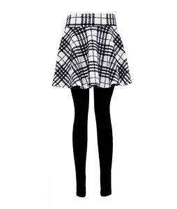 Checked Pleated Skirt Leggings