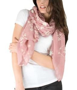 Allover Floral Embroidery Pastel Color Scarf