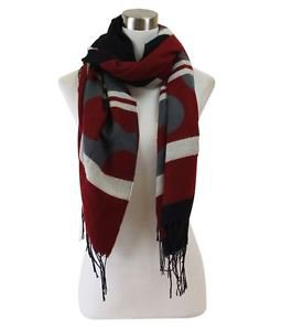 Reversible Multi-Striped Circular Pattern Fringe Scarf