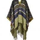 Exotic Aztec Pattern Reversible Fringe Ruana