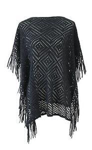 Diamond Pattern Knitted Fringe Poncho