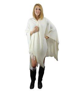 Modadorn Basic Solid Winter Ruana Fringe Women's Fashion Ivory