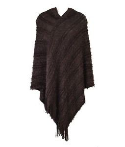 Striped & Oval Chain Knitted Fringe Hooded Poncho