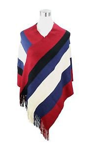 Large Stripe Fringe End Poncho