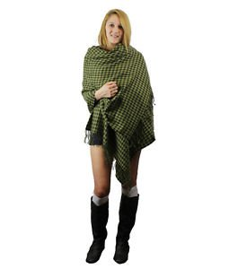 Check Houndstooth Woven Soft Big Size Wrap Ruana Green/Gray NIP.(Made In Korea)