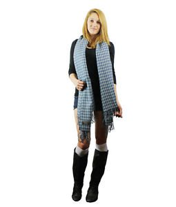 Check Houndstooth Woven Soft Big Size Wrap Ruana (Blue/Gray) NIP.