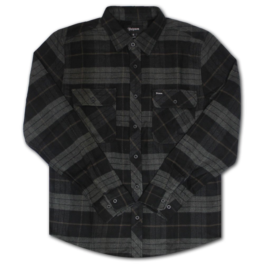Brixton Bowery Flannel L/S Shirt Black Charcoal