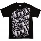 Famous Stars and Straps Script Stack T-shirt Black White