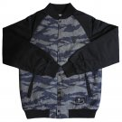 Crooks & Castles Men's Denim Snap Up Jacket Tiger Camo Black