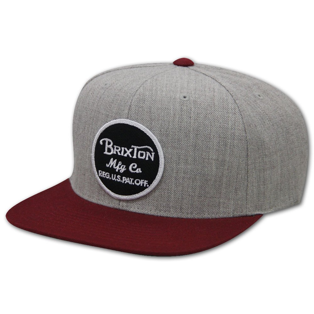 Brixton Wheeler Snapback Cap Grey Burgundy