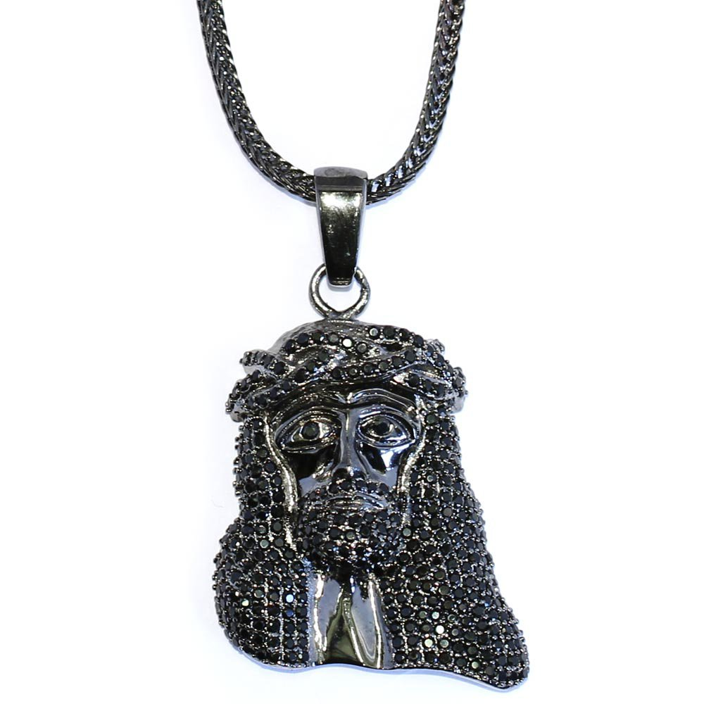 Black Mini Jesus Piece CZ Pendant 1.5 inch with 32 inch Franco Chain