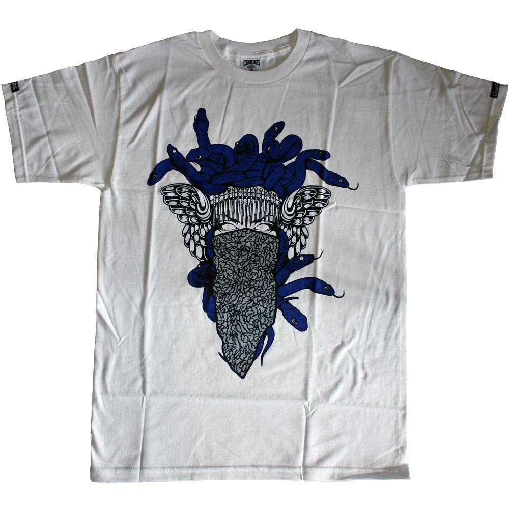 Crooks & Castles Crackle Medusa T-Shirt White Navy