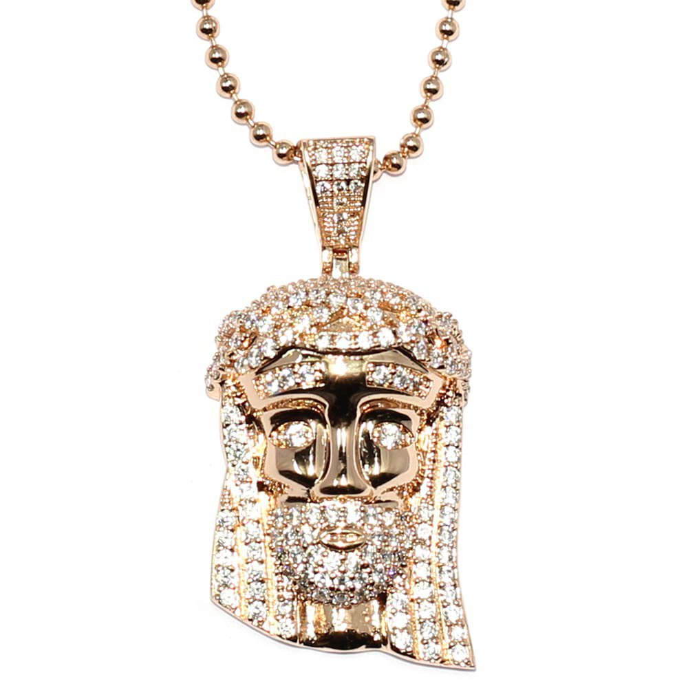 Rose Gold Mini Jesus Piece with Crystal Detail, 30 inch ball chain, High Quality