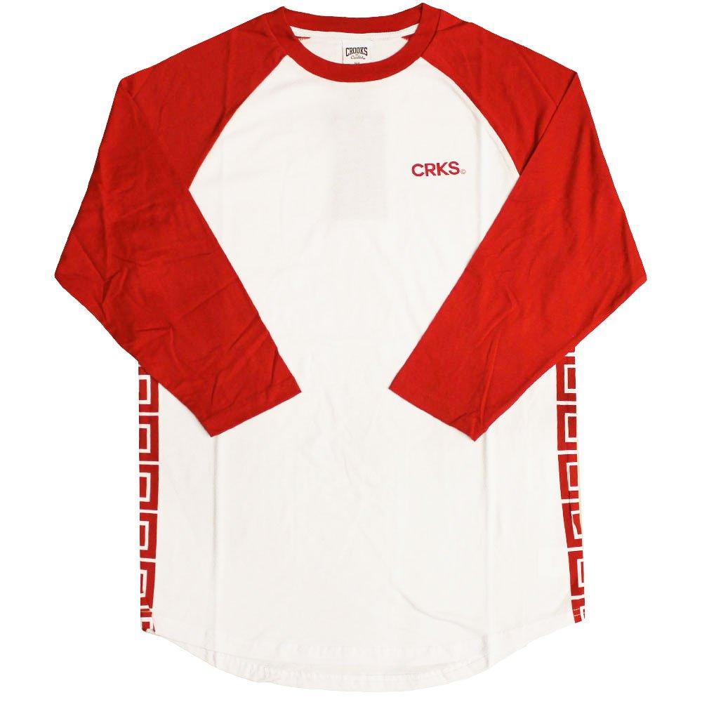Crooks & Castles Greco Stripe Baseball Raglan T-Shirt True Red