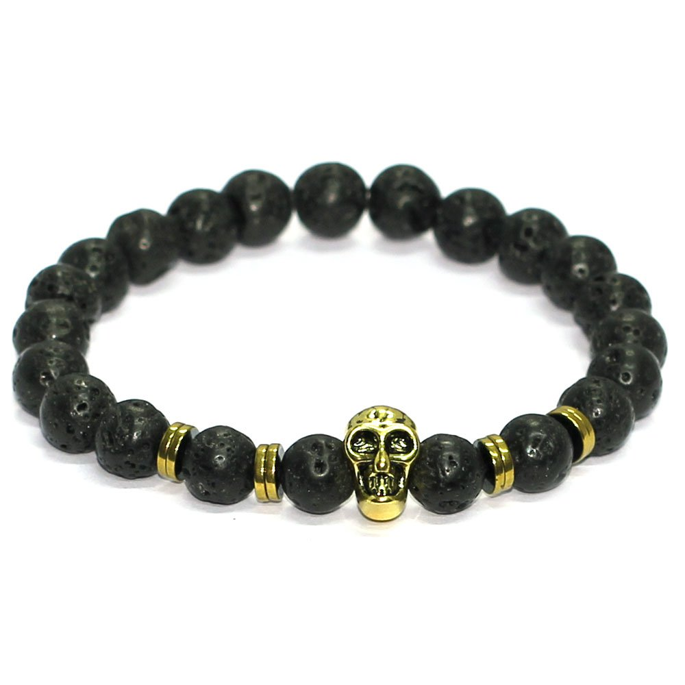 Black Lavastone Skull Bracelet With 8mm Beads