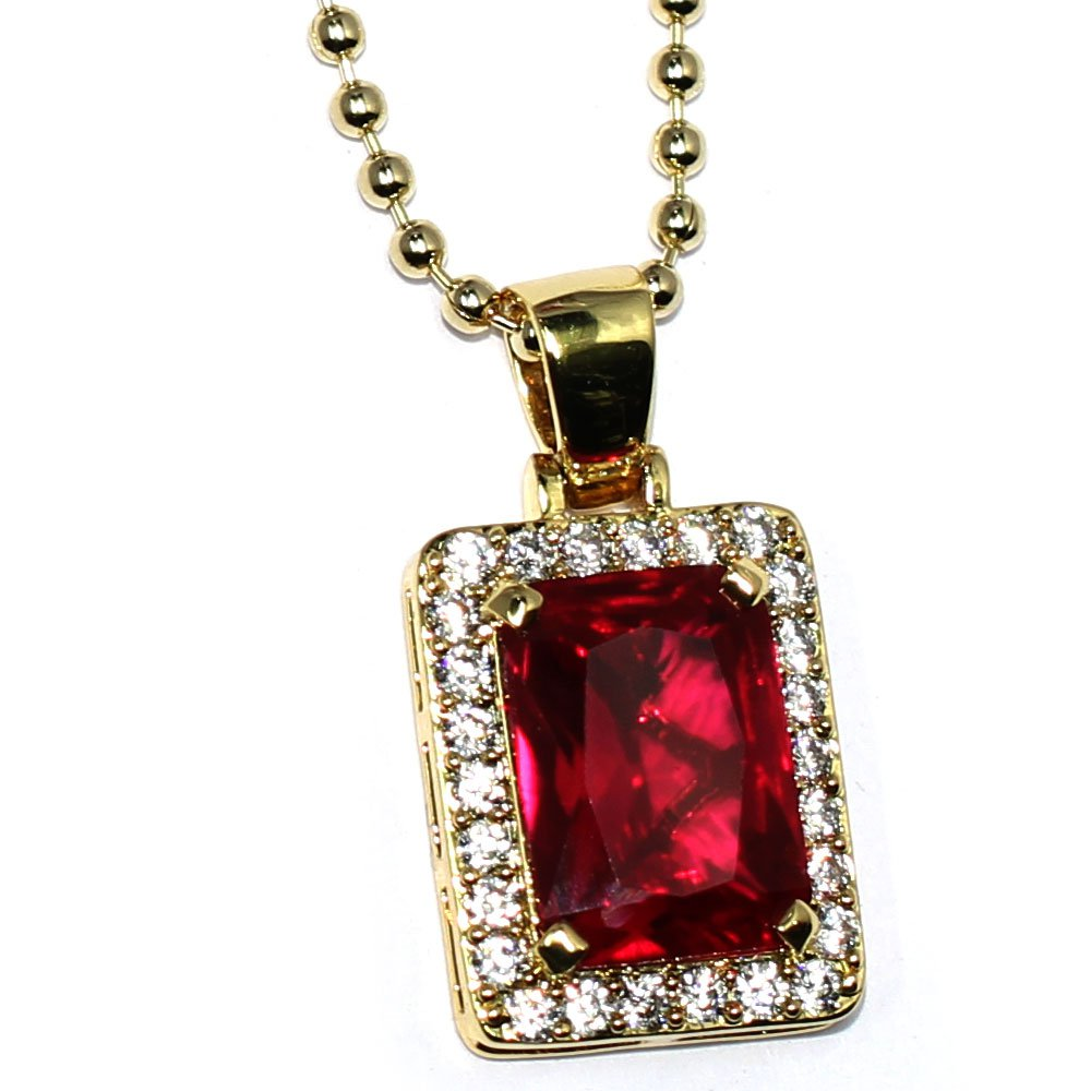 Emerald Cut Simulated Lab Ruby & Diamond 20mm Pendant & 30 inch Ball Chain