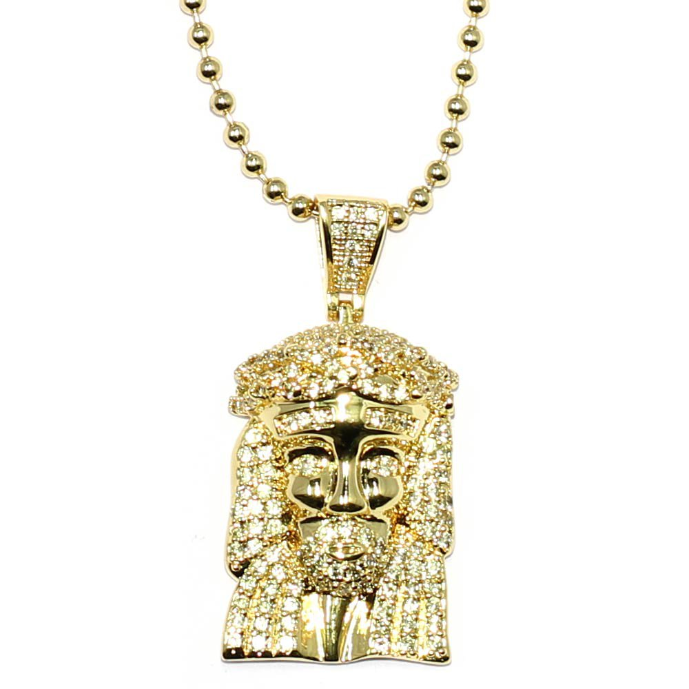 18k Gold Plated 1 inch CZ Micro Jesus Piece with 30 inch ball chain