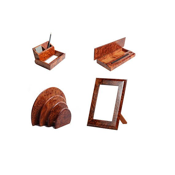 Pack of 4 desk/office furniture:handmade Thuya wooden items for desk & office/Morocco