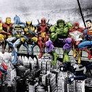 "Breakfast Of Champions - Superhero Lunch Atop A Skyscraper Art Print A2 (420x594mm/16.8x23.1"")"