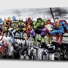 """Marvel and DC Superheroes Lunch Atop A Skyscraper - Mounted Canvas 22x34"""""""