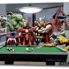"""Marvel Superheroes Relax Playing Pool - Mounted Canvas 22x34"""""""