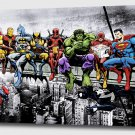 """Marvel and DC Superheroes Lunch Atop A Skyscraper - Mounted Canvas 16x22"""""""