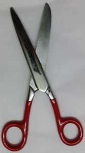Fetlock Horse And Pony Scissors Curved Blade Stainless Steel Red Vinyl Handle