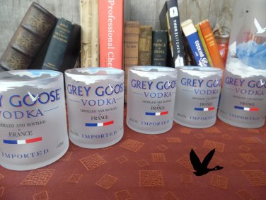 4 Grey Goose Cut Bottle Upcycled Old Fashion Glasses