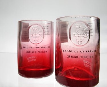 Red Ciroc Bottle Upcycled Shotglasses, Set of 2