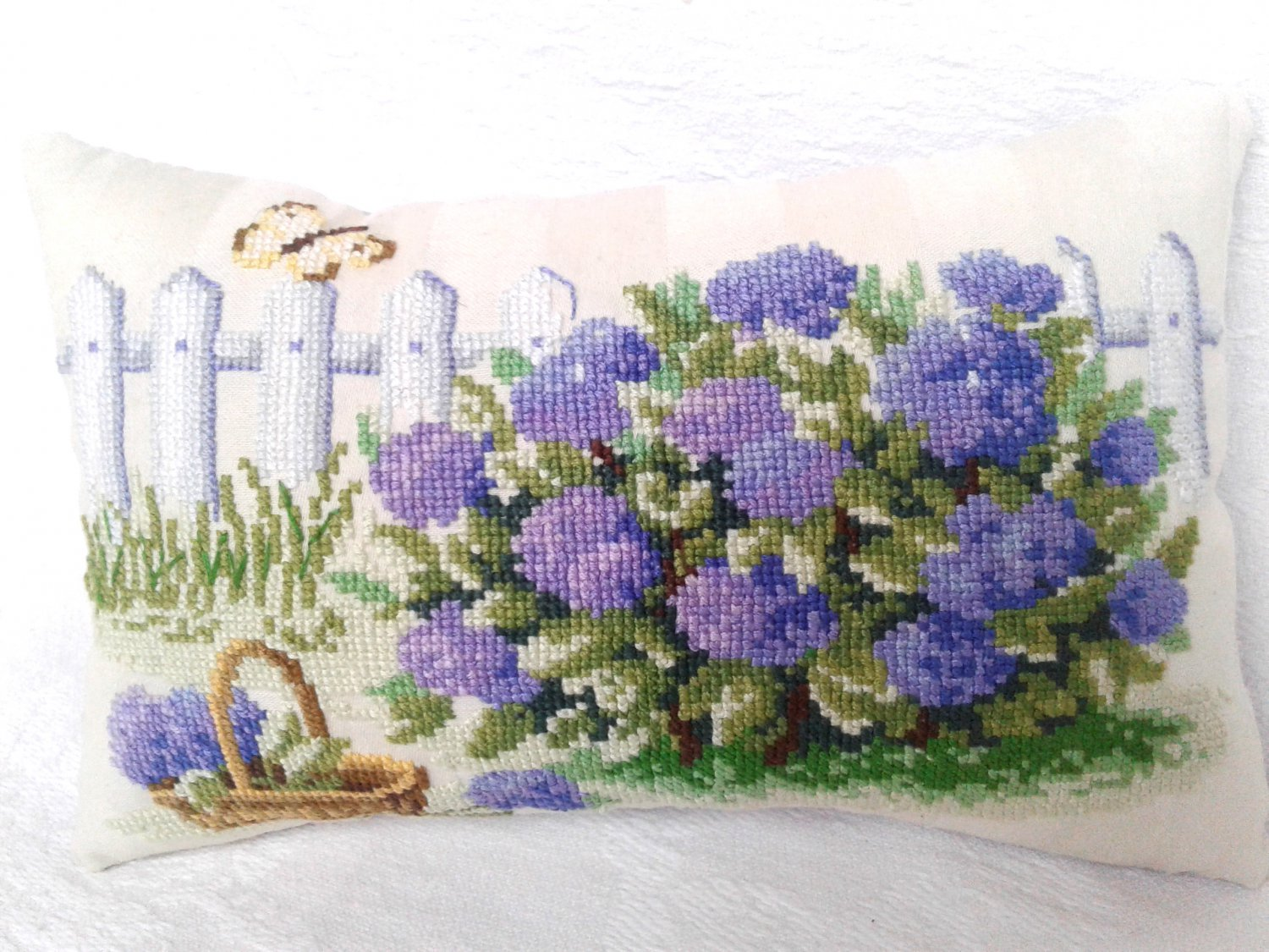 Decorative pillow, home decoration idea, modern cross stitch, completed embroidery, unusual gift