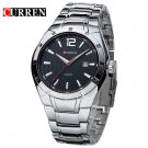 CURREN 8103 Men's Business Stainless Steel Contoured Date Watch with Black Dial