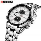 CURREN 8023 Silver Stainless Steel Men's Wrist Watch with White Dial