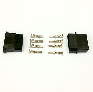 MALE & FEMALE 4 PIN MOLEX PC PSU POWER CONNECTORS - 10 OF EACH - BLACK INC PINS