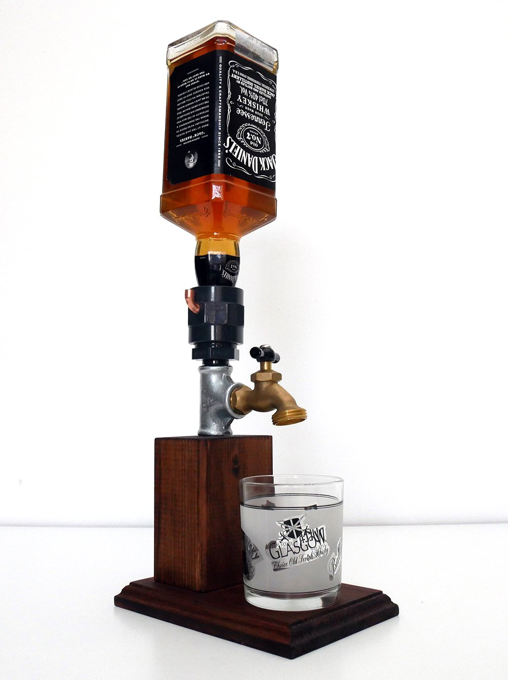 Handmade Wooden Alcohol Dispenser - Small, Two tone