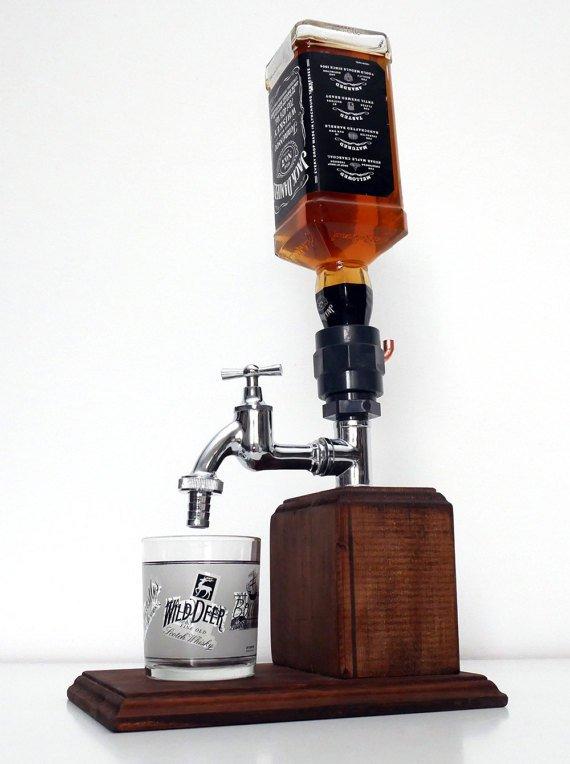 Handmade Wooden Alcohol Dispenser - Medium Chrome
