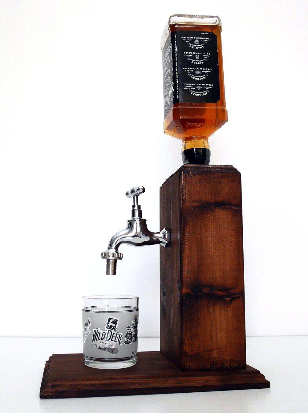Handmade Wooden Alcohol Dispenser - Large Chrome