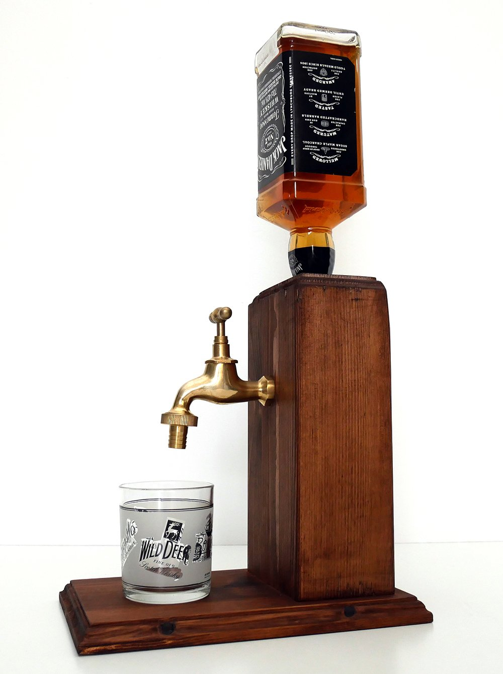 Handmade Wooden Alcohol Dispenser - Large Brass