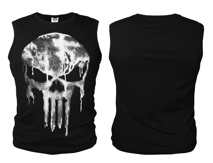 The Punisher T-shirt Skull Priting Black Fashion Men Sleeveless Tee Shirt