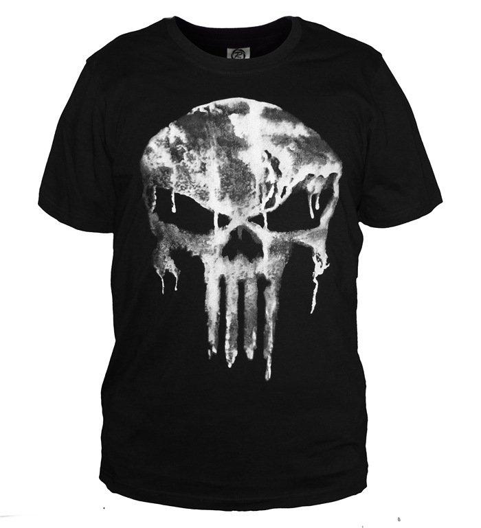 The Punisher T-shirt Skull Printing Black Fashion Adult Men Short Sleeves Tee Shirt Version 2