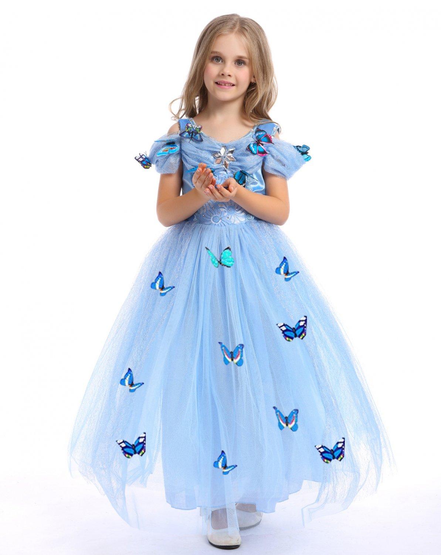 Princess Cinderella Dress Kids Girls Princess Fancy Dress Cosplay Costume